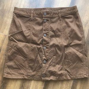 a.n.a Brown button front skirt Sz 28